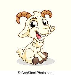 goat, sentado