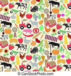 goat, szufelka, sheep, (farm, ikony, próbka, krowa, świnia, traktor, byk, wiatrak, kurczak, warzywa, tło, owoce, rolniczy, łopata, fence)