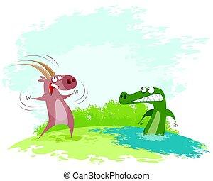 Goat teases the crocodile