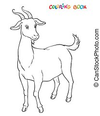 Goat to be colored, the coloring book for kids. Vector...