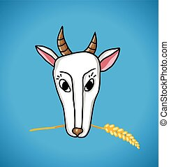 goat with ears of wheat in the mouth