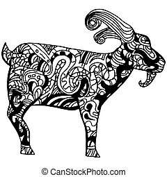 Goat Zentangle Style - An image of a goat - zentangle style.