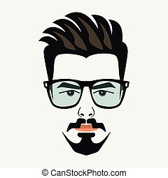 Goatee beard young hipster male with blue lenses glasses and high lighted hair