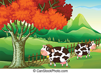 Goats at the hills - Illustration of the goats at the hills