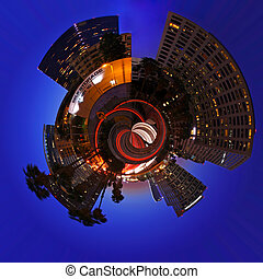 Gobe Shaped City at Night in Los Angeles