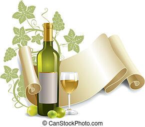 gobelet, bouteille, vin