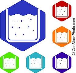 gobelet, ensemble, liquide, icônes, hexagone, rempli
