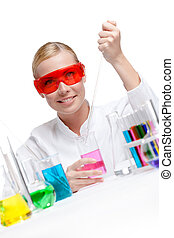gobelet, essais, chimiste, liquide