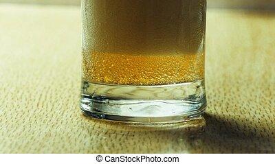 gobelet, mousse, haut, verre, bière, fin
