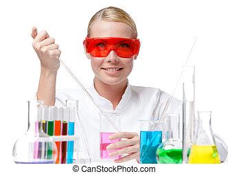 gobelet, pourpre, essais, chimiste, liquide