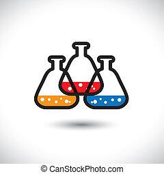 gobelet, représente, concept, découverte, coloré, icon(sign)., graphic-, résumé, réactions, laboratoire, recherche, etc, chimique, vecteur, drogue, concepts, biotechnologie, illustration médicale