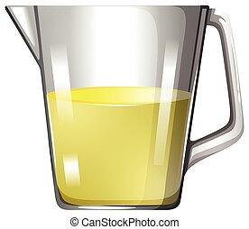 gobelet, verre, jaune, liquide