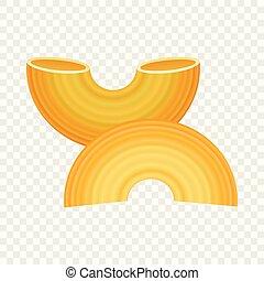 Gobetti rigati pasta icon, realistic style