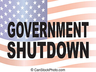 gobierno, cierre, texto, con, bandera de los e.e.u.u,...