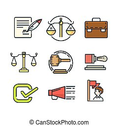 gobierno, icono, conjunto, color