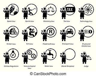 gobierno, reglas, icons., regulaciones, leyes, tipo