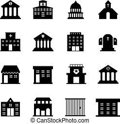 gobierno, y, edificio público, vector, iconos