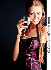 goblet - Fashion photo, beautiful model is posing over black...