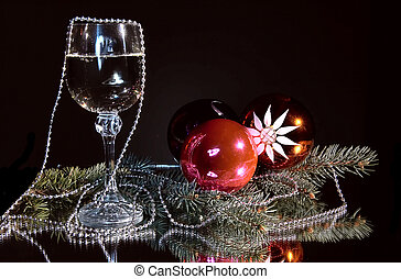 Goblet of champagne and christmas still life.
