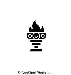 Goblet of fire black icon concept. Goblet of fire flat  vector symbol, sign, illustration.