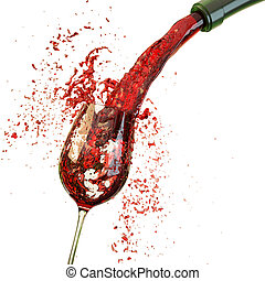 goblet - Red wine poured in a glass isolated on a white...