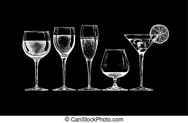 goblet set - Vector set of glasses goblets on black...