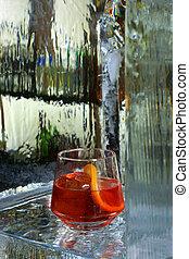 goblet., verre, vermouth, haut fin
