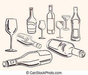 goblets and bottles. set of ten vector elements