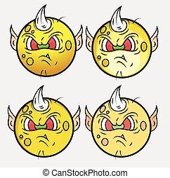 Goblin Monster Smiley Vector Set