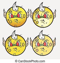 Goblin Monster Smiley Vector Set