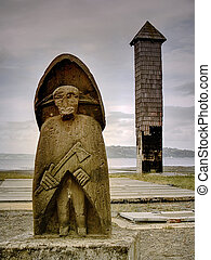 A trauco (goblin)sculpture, in Chiloe, Chile. Takes part of the celtic mythology, from north spanish colonist