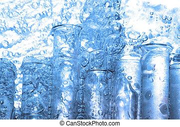 gocce acqua, e, chimica, vetro