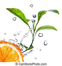 gocce acqua, su, arancia, con, congedi verdi, isolato, bianco
