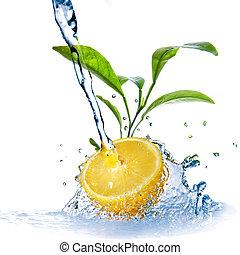 gocce acqua, su, limone, con, congedi verdi, isolato, bianco