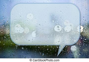 gocce acqua, su, specchio, fondo, con, citazione, spazio
