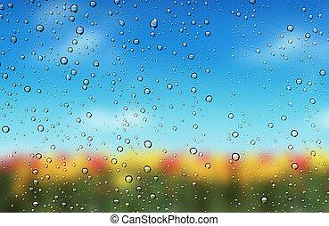 gocce, di, acqua, su, il, vetro