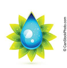 goccia acqua, concetto, vettore