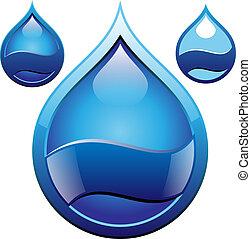 goccia acqua, distintivo, vettore