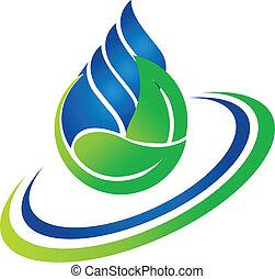 goccia acqua, e, foglia verde, logotipo