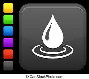 goccia acqua, icona, su, quadrato, internet, bottone