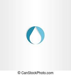 goccia, acqua, icona, vettore, logotipo, blu, simbolo