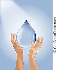 goccia acqua, in, mano