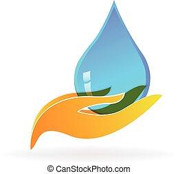 goccia acqua, mano, cura, logotipo
