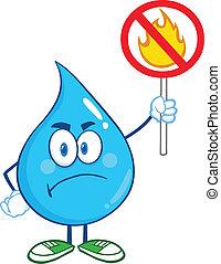 goccia acqua, presa a terra, uno, fuoco, fermi segnale
