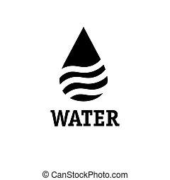 goccia, acqua, vettore, disegno, sagoma, onde