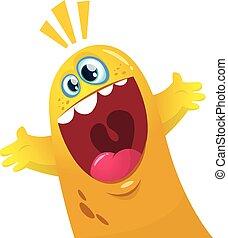 goccia, mostro, giallo, cartone animato