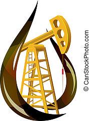 goccia olio, interno., stilizzato, pompa, fossile