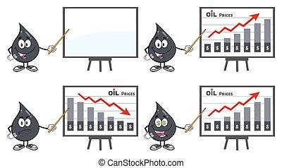 goccia olio, petrolio, collezione, 4, o
