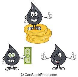 goccia olio, petrolio, collezione, 7, o