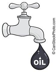 goccia, rubinetto, olio, petrolio, o